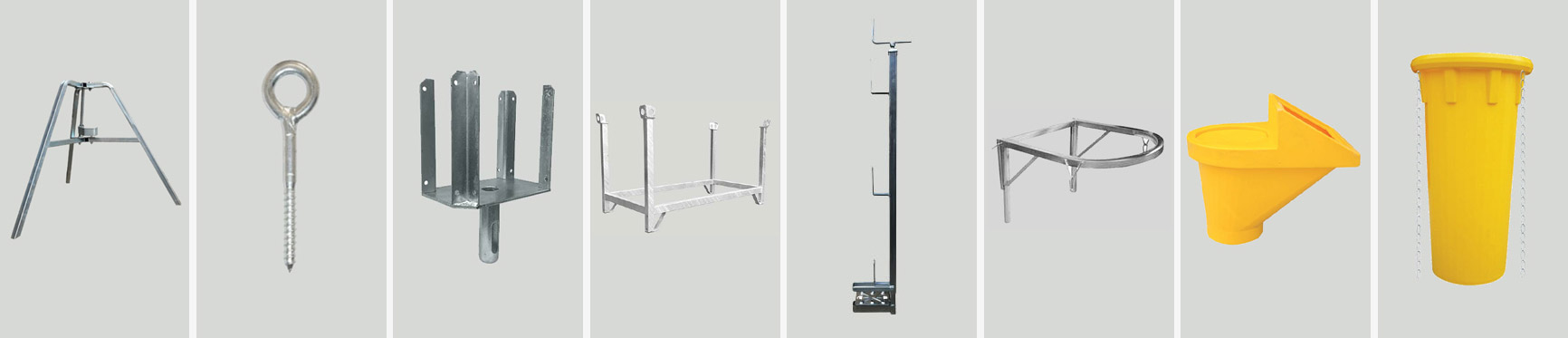 More than 100 accessories for props, scaffoldings, couplings, formworks and stacking pallets