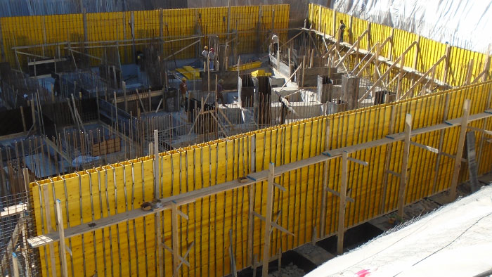 Formwork wooden  panels in a worksite