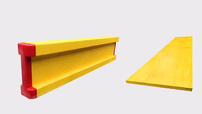 Travi e pannelli per cassaforma gialli per edilizia