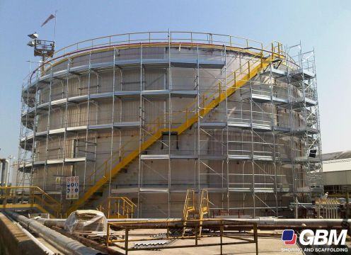 SCAFFOLDING IN A REFINING BUILDING WORKSITE AT RAS LAFFAN