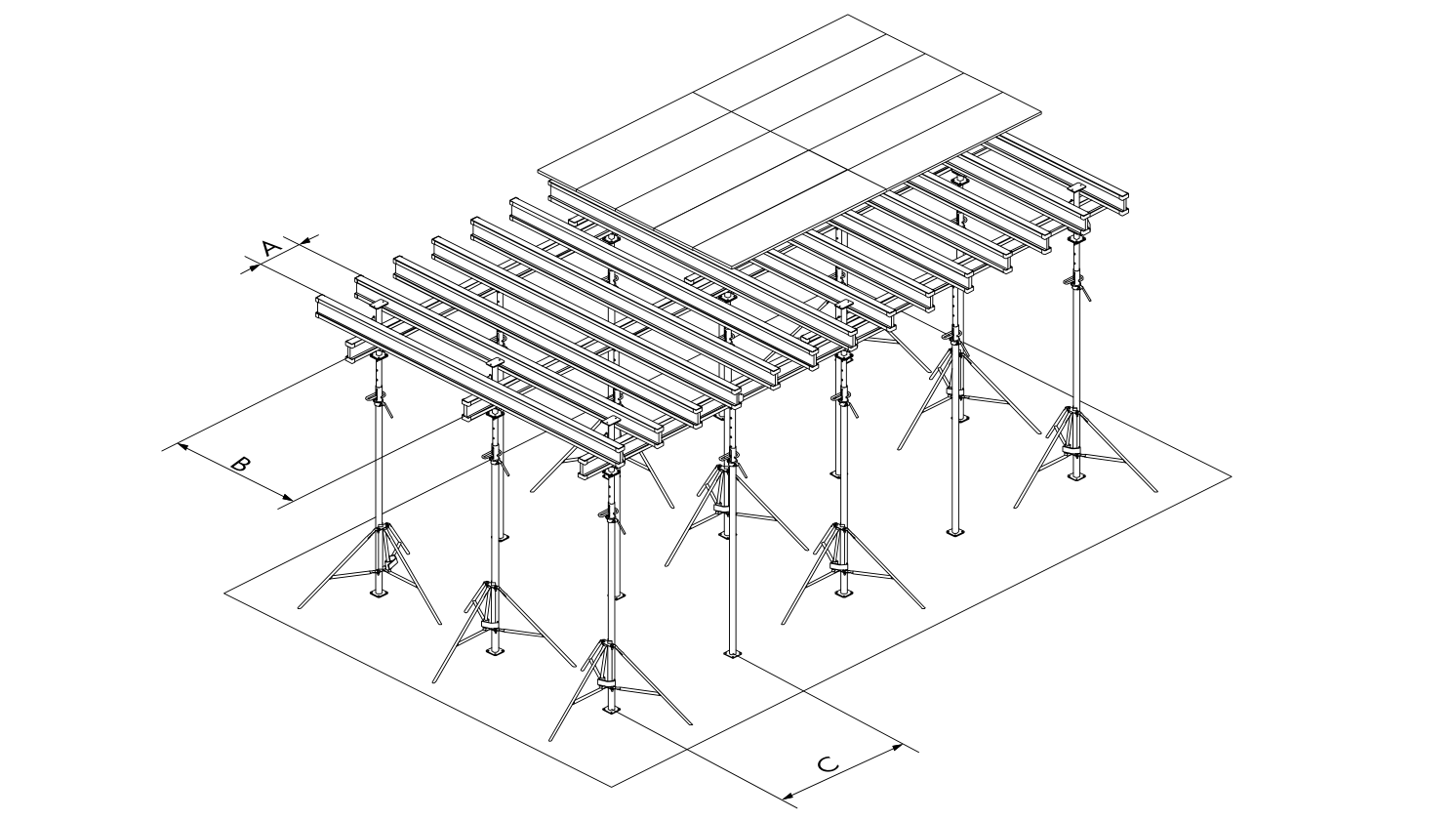 Schema di montaggio per il posizionamento delle travi e dei puntelli
