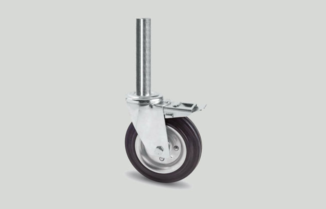Scaffolding caster wheel with brake