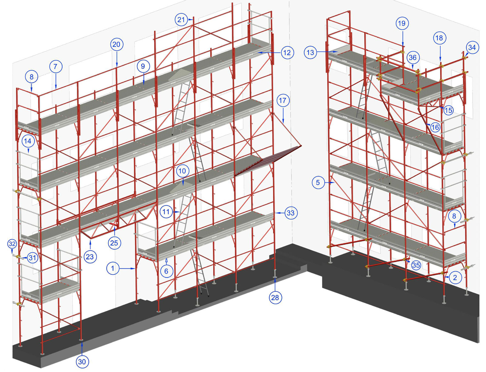 GBM scaffolding elements and accessories