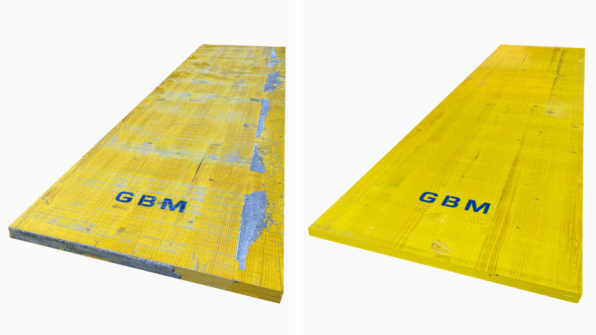 Machine to clean yellow panels for GBM formwork